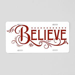 BELIEVE [flourish] Aluminum License Plate